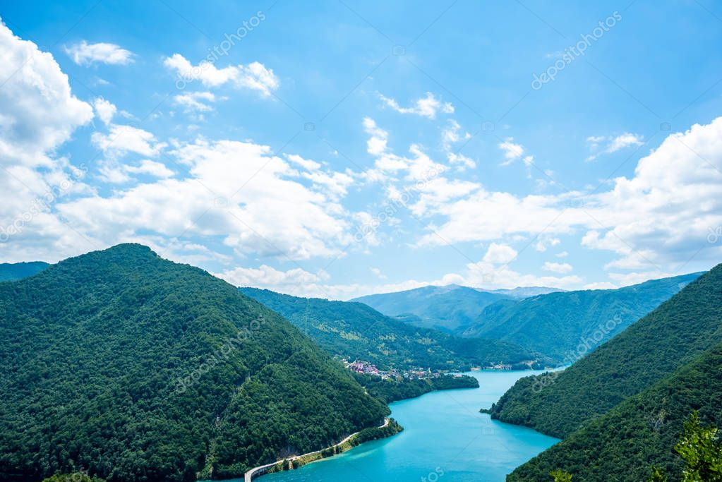 Фотообои aerial view of beautiful Piva Lake (Pivsko Jezero) and mountains in Montenegro