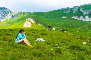 beautiful woman sitting near cows grazing on green valley in Durmitor massif, Montenegro