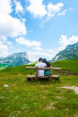 Rear view of couple sitting on wooden bench and looking at mountains in Durmitor massif, Montenegro stock vector