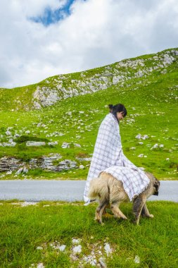 Beautiful woman in blanket covering fluffy dog on valley in Durmitor massif, Montenegro stock vector