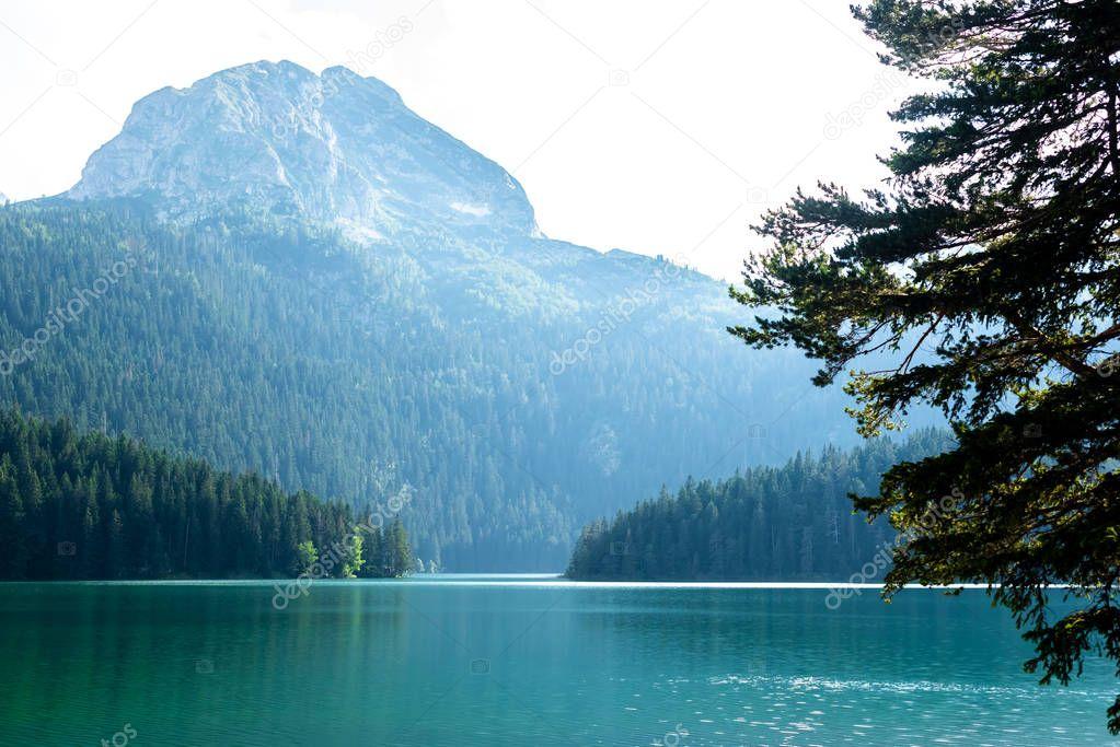 beautiful Bear Peak (meded peak) and glacial Black Lake in Montenegro