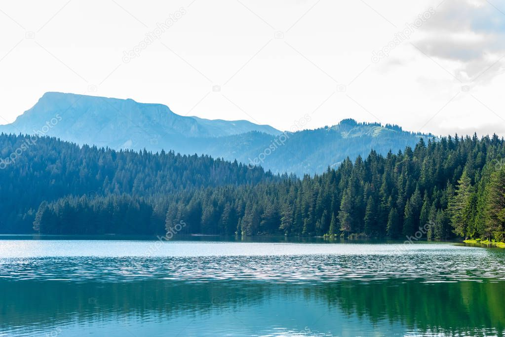 Фотообои beautiful glacial Black Lake, forest and mountains in Montenegro