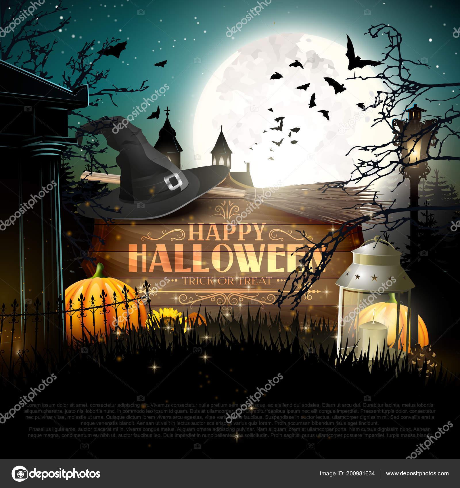 Cartel Halloween Con Calabazas Otras Decoraciones Halloween ...