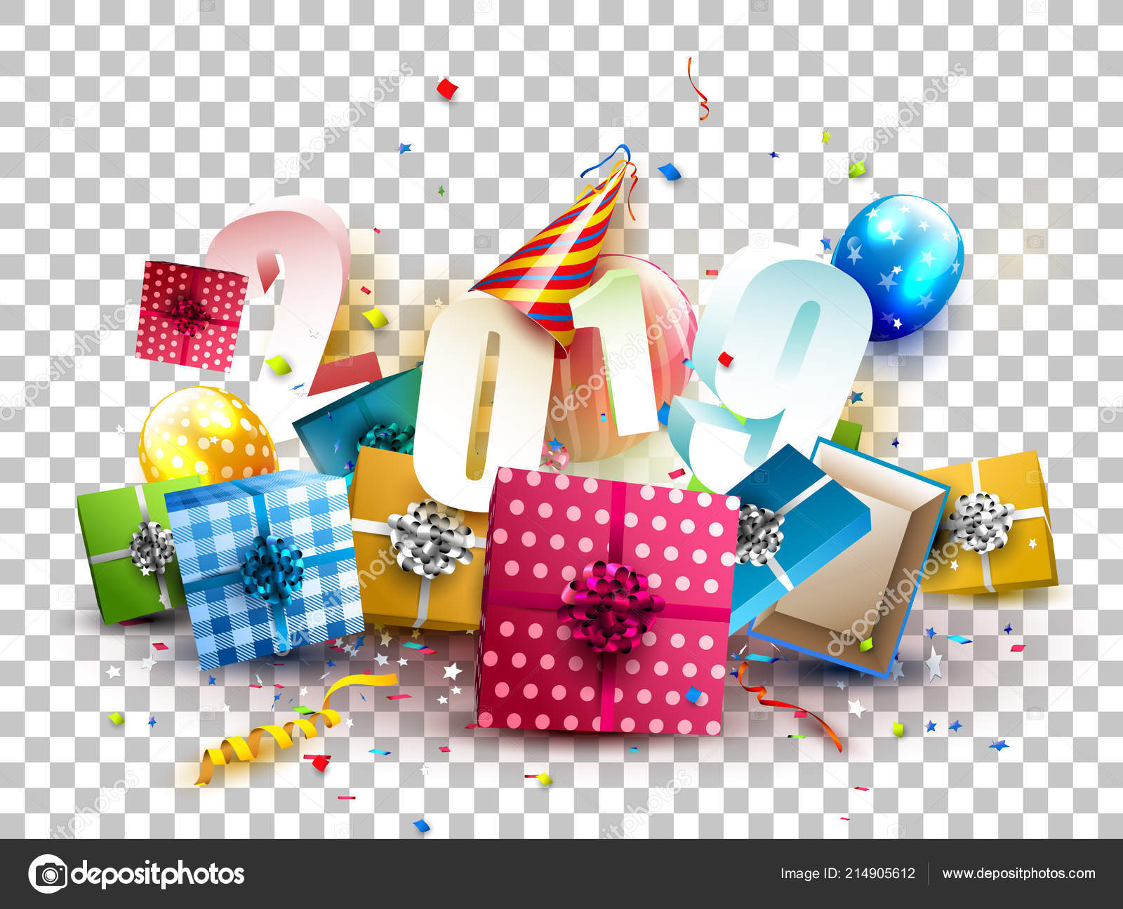 happy new year 2019 colorful gift boxes balloons and party hat on transparent background vector by kaktus2536