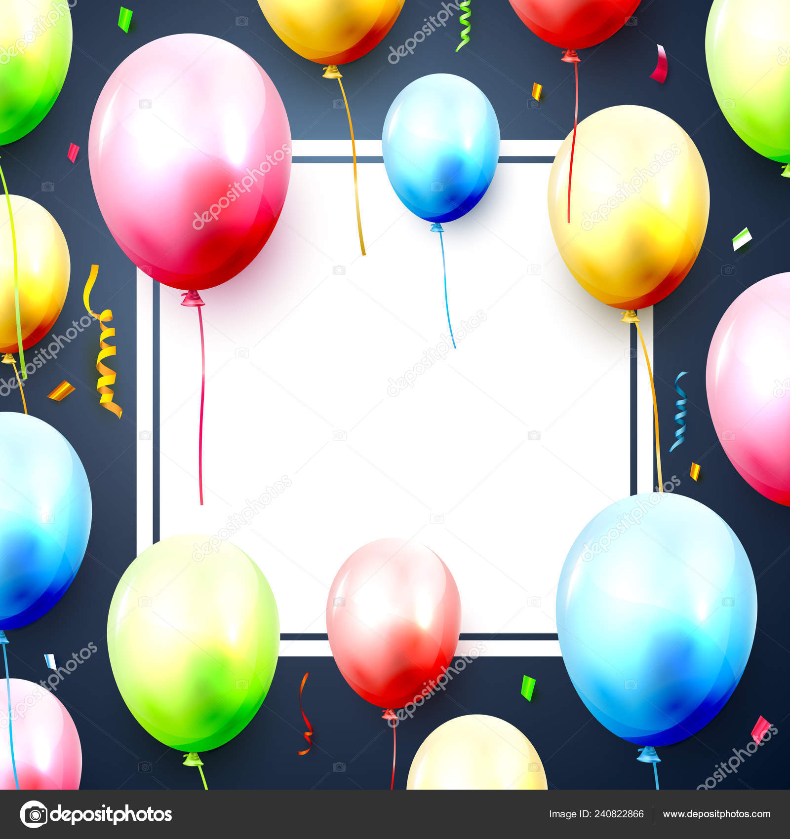 Happy Birthday Greeting Card Balloons Confetti Blue Background Space Your Stock Vector