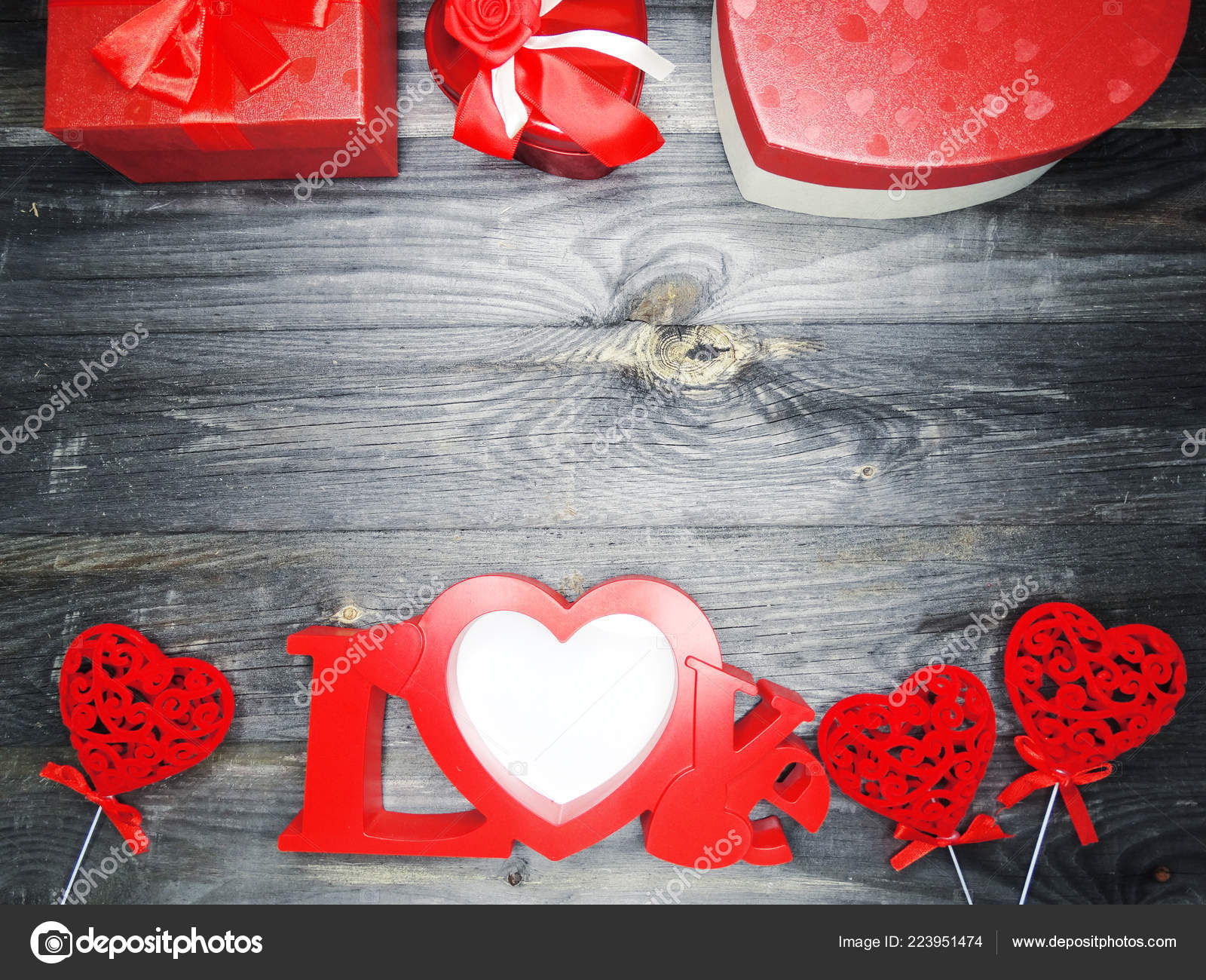 Love Valentine Day Red Heart Gift Copy Space Wooden Background