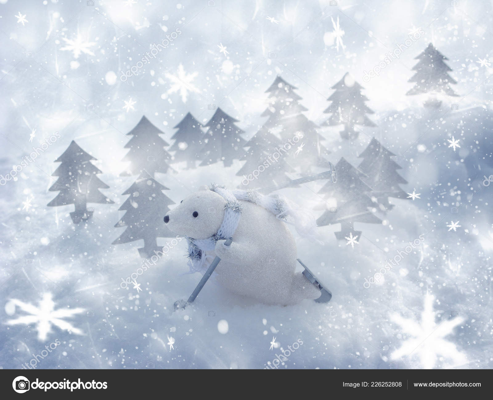 Magic Christmas.Happy White Bear Magic Christmas Forest Christmas Winter Greeting