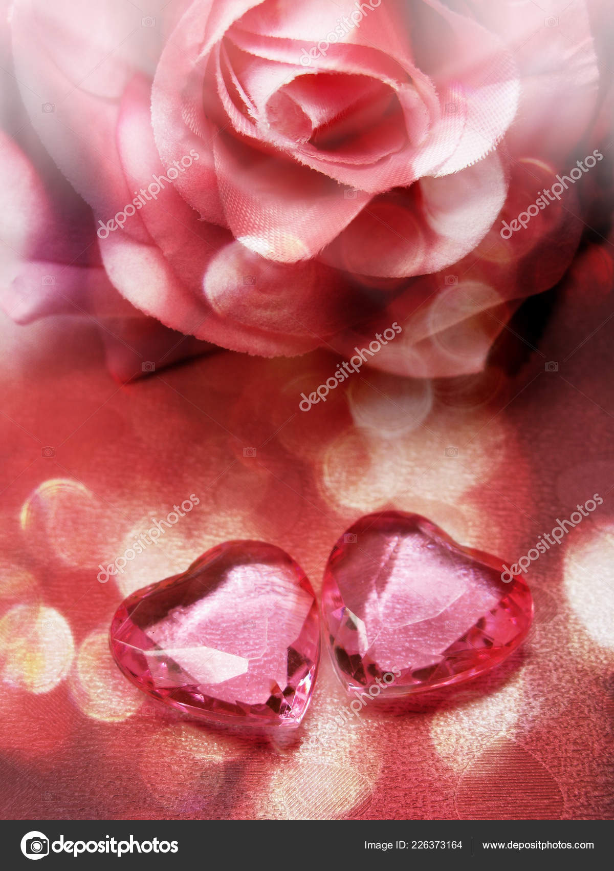 Crystal Gem Two Ruby Hearts Roses Flowers Love Valentine Day