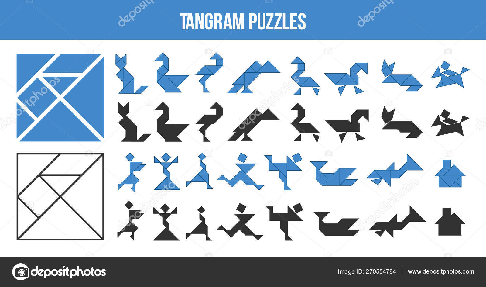 graphic regarding Printable Tangram called Tangram puzzle animal designs Printable Tangram, puzzle