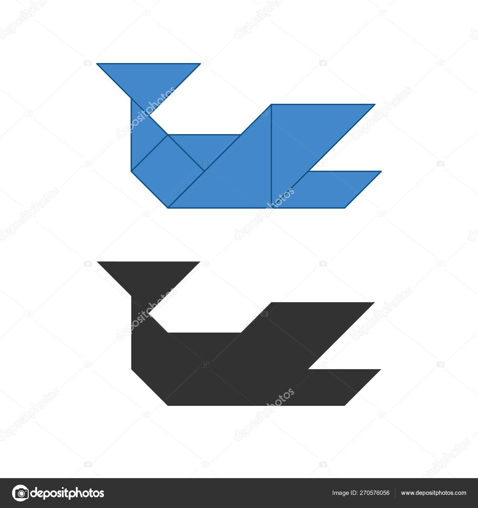 Whale Tangram  Traditional Chinese dissection puzzle, seven tiling