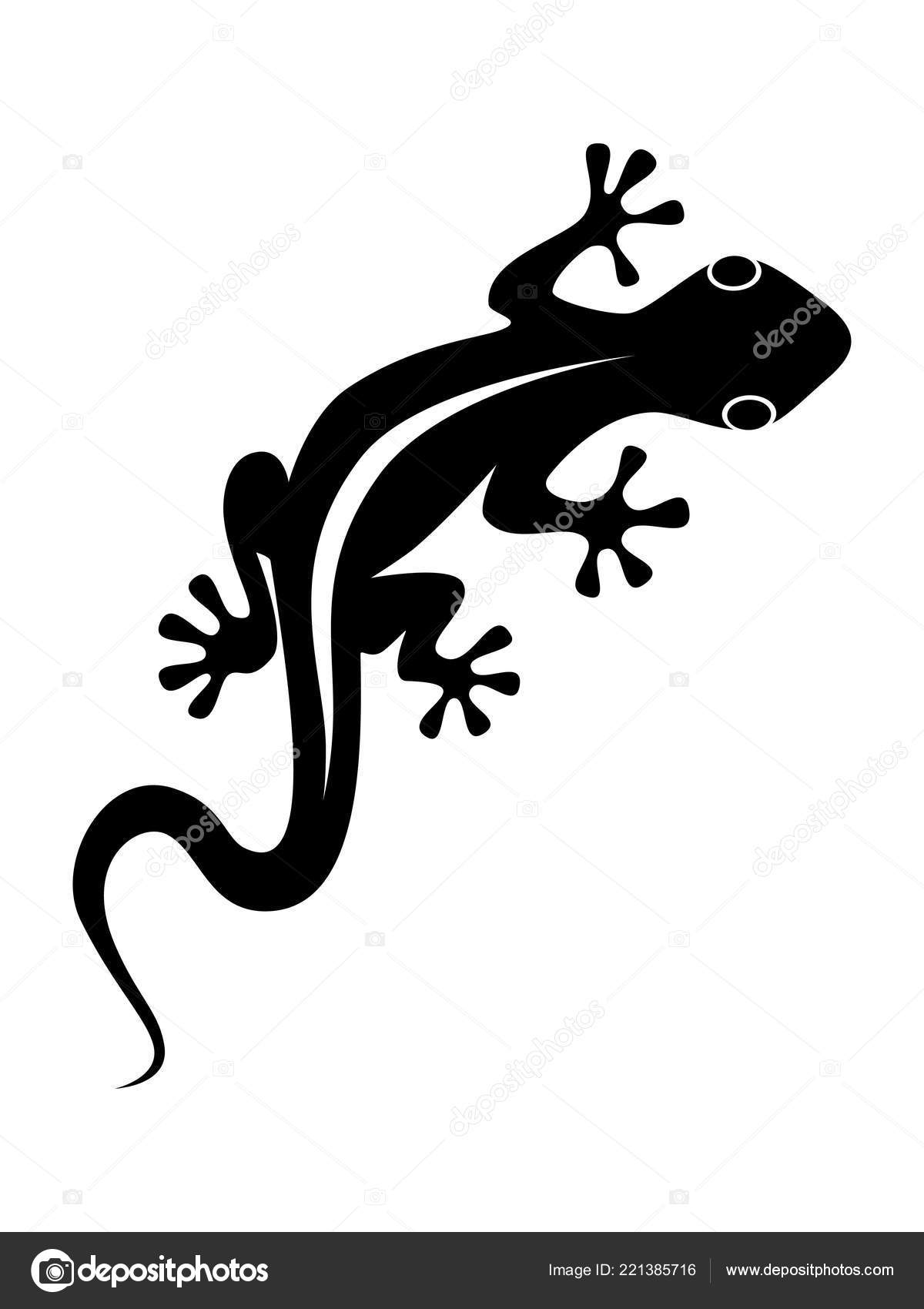 5908618d8 Abstract black symbol or sign lizard isolated on white background. Flat  icon vector illustration– stock illustration