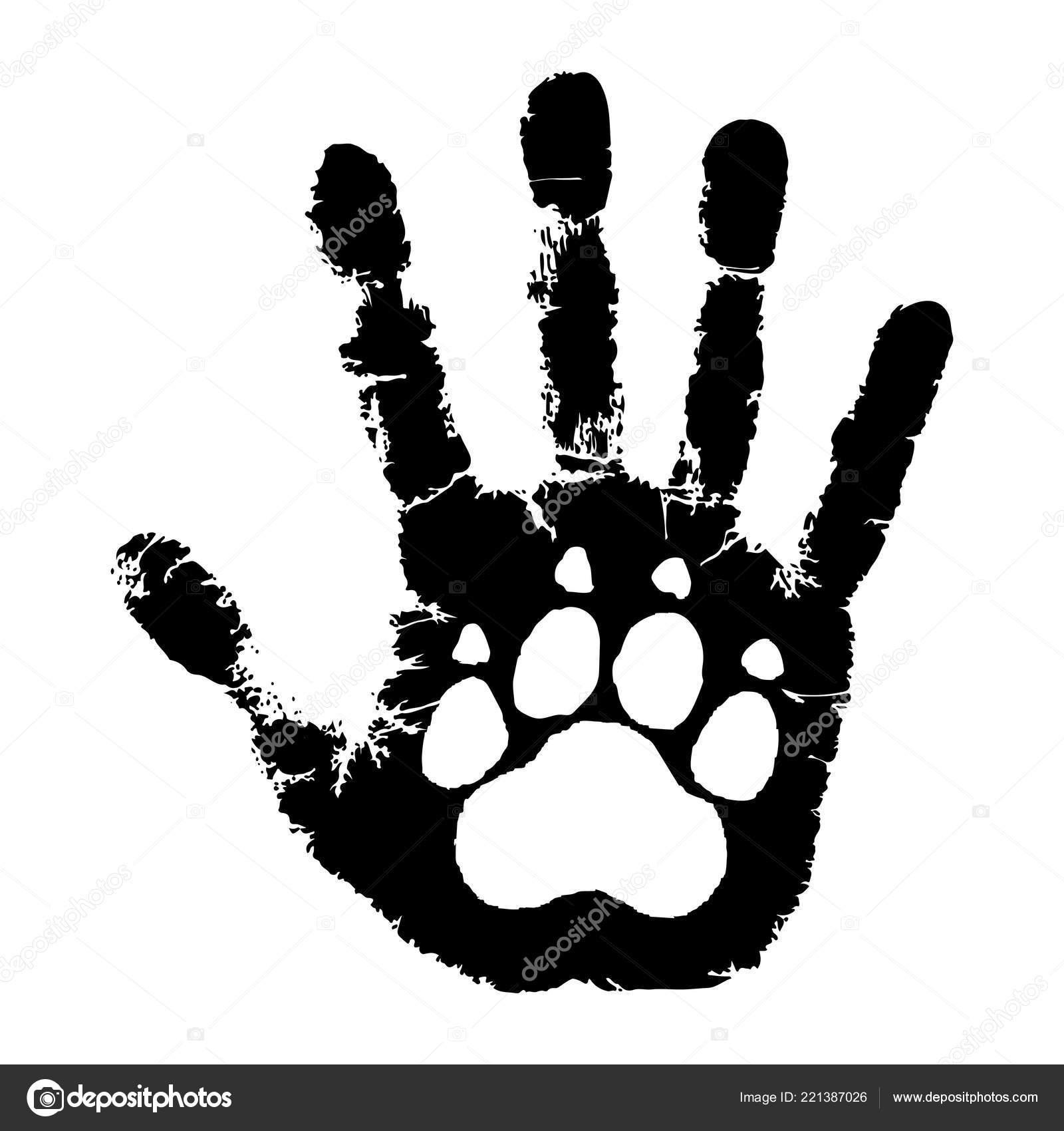 Tiere Kümmern Tierische Pfotenabdruck Auf Menschliche Handabdruck