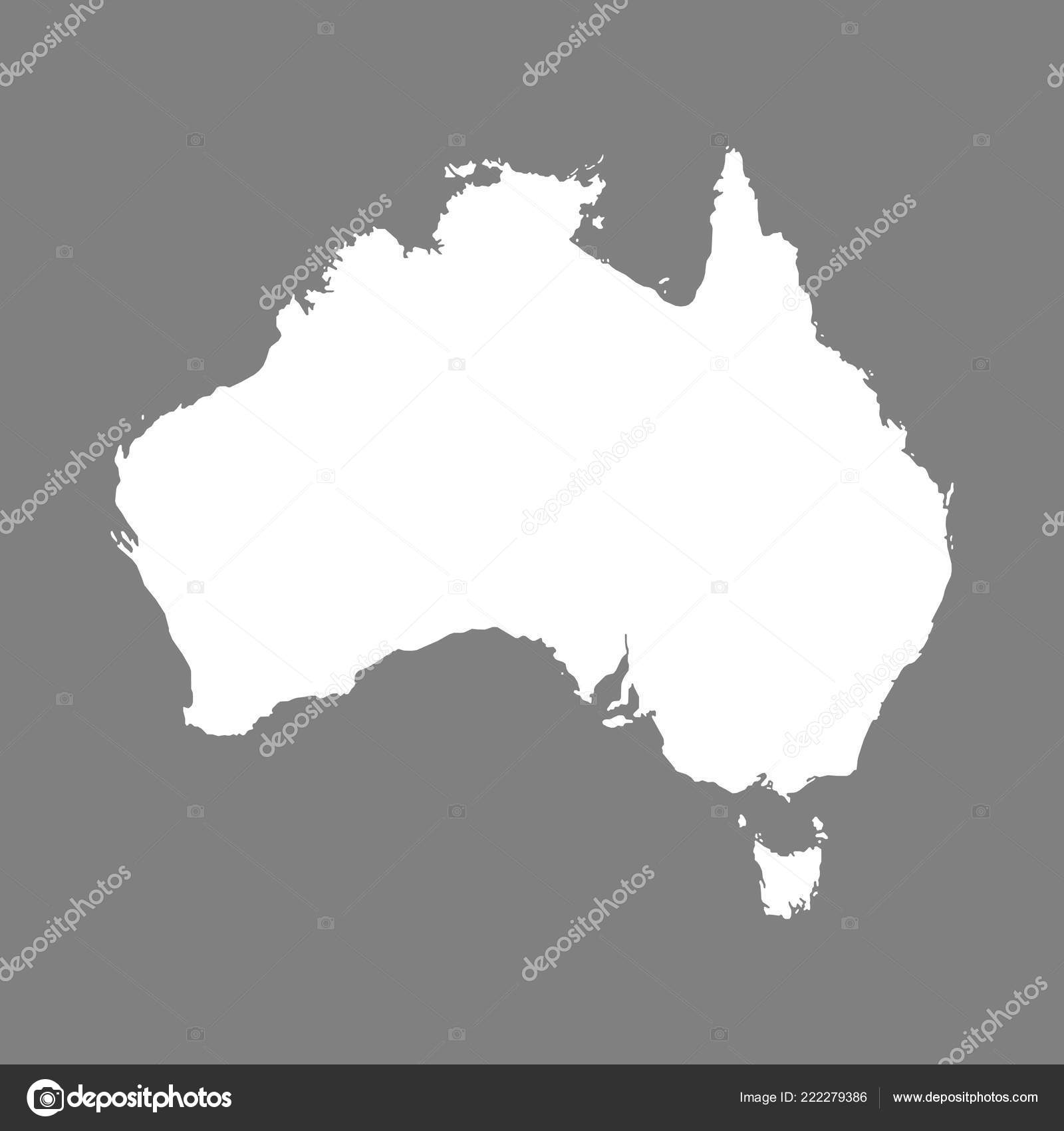 Australia Map Grey.Isolated White Blank Australia Map Grey Background Flat Vector