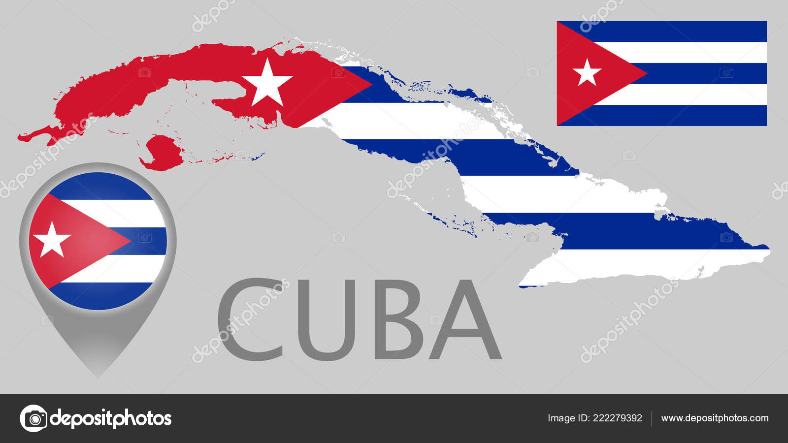 Colorful Flag Map Pointer Map Cuba Colors Cuban Flag High Stock