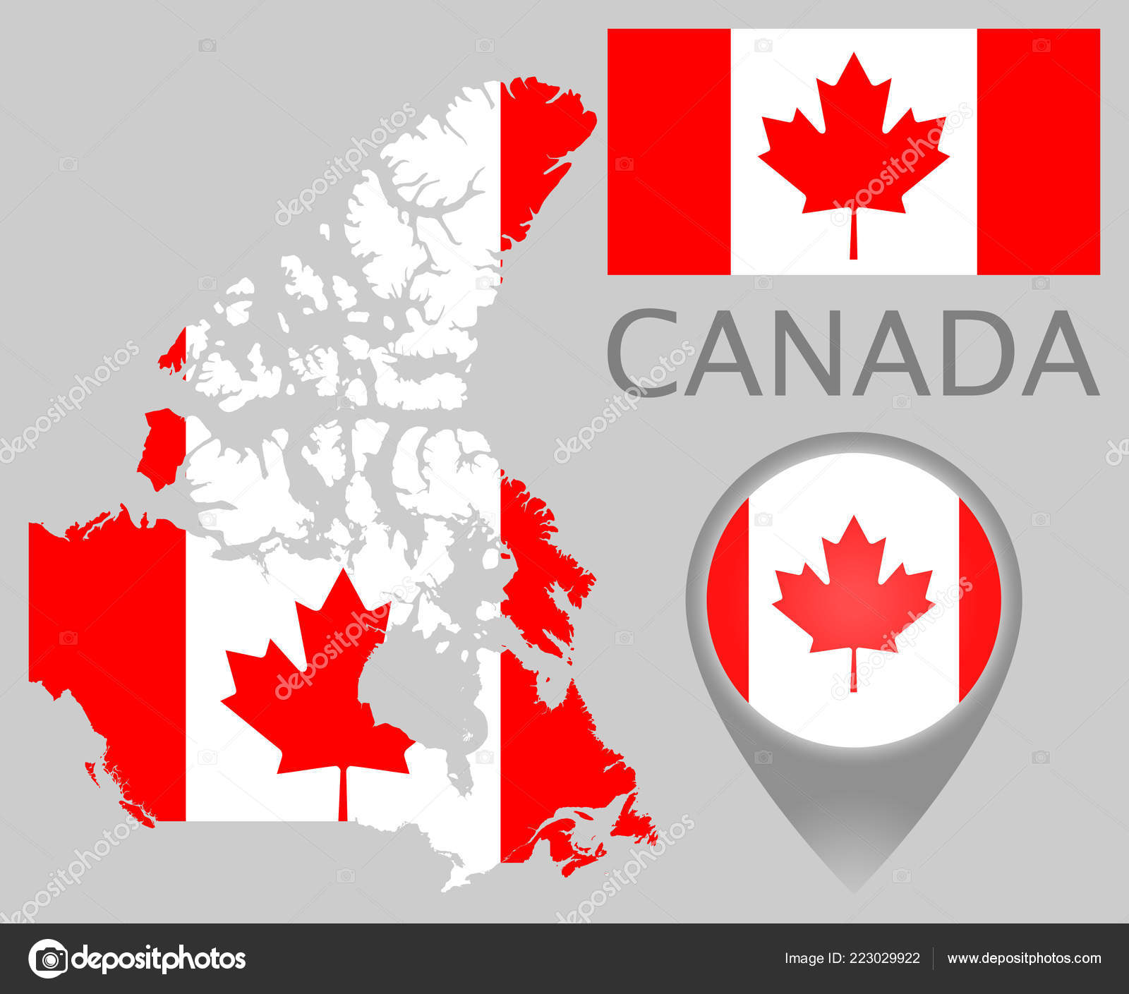 Colorful Flag Map Pointer Map Canada Colors Canadian Flag High ... on