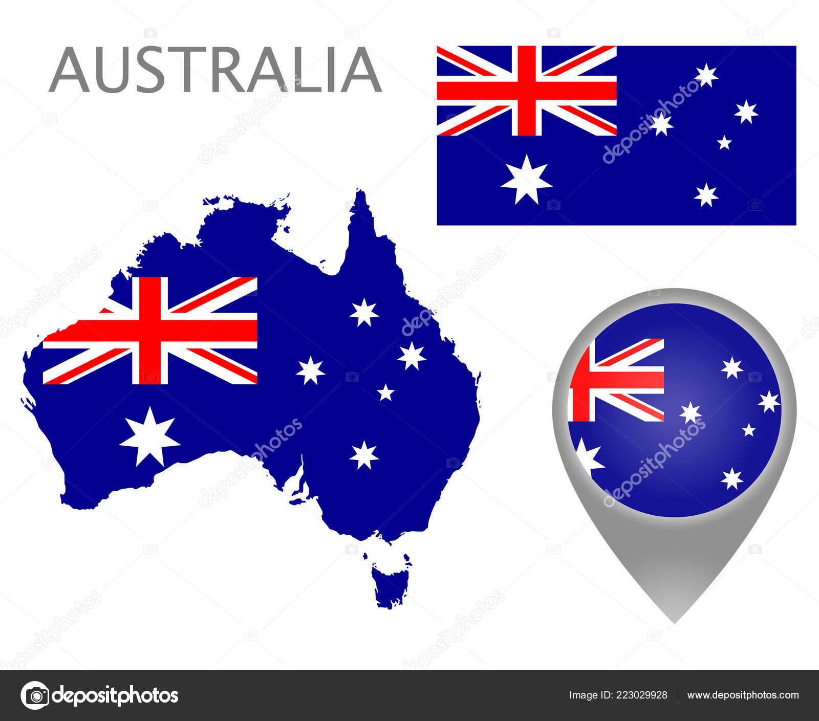 Carte Australie Drapeau.Indicateur Colore Carte Pointeur Carte Australie Aux
