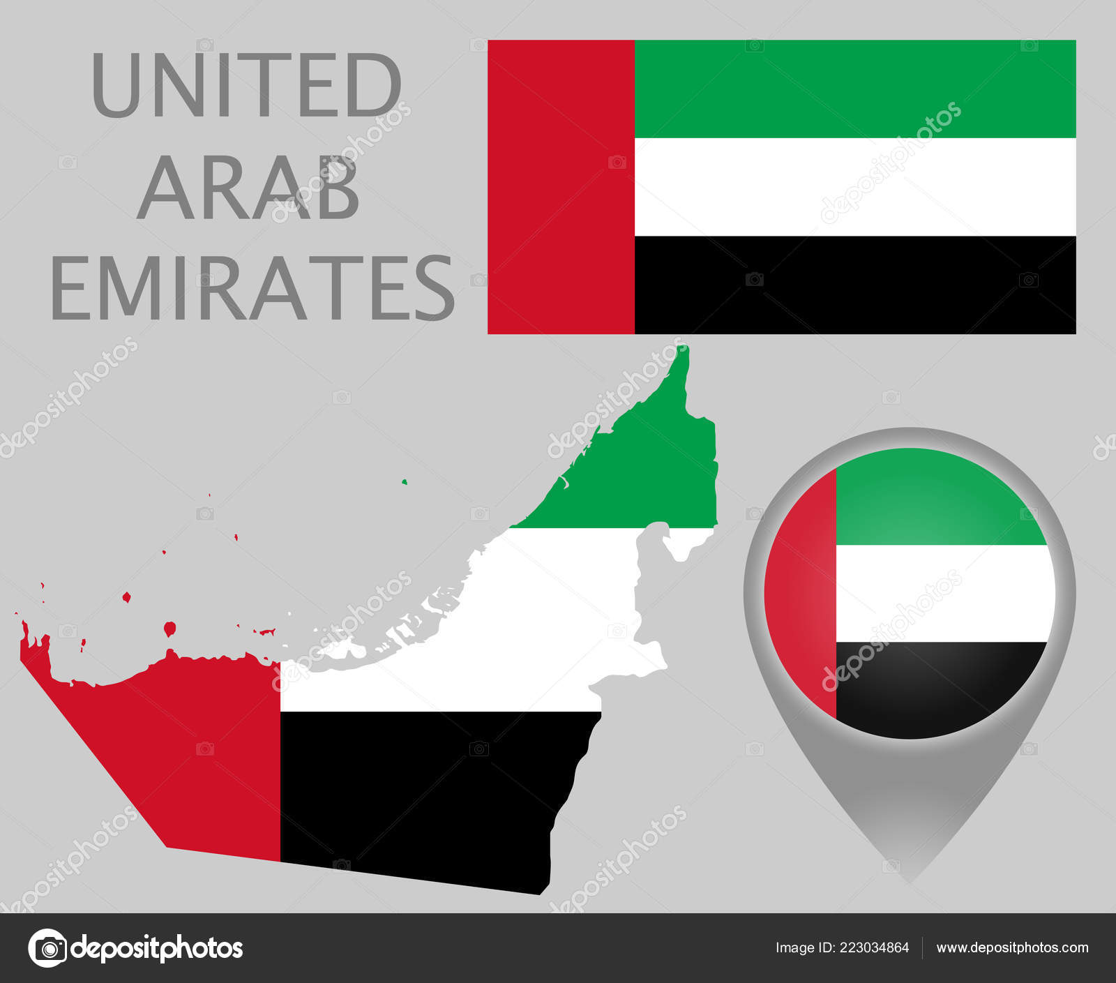 Colorful Flag Map Pointer Map United Arab Emirates Colors ...