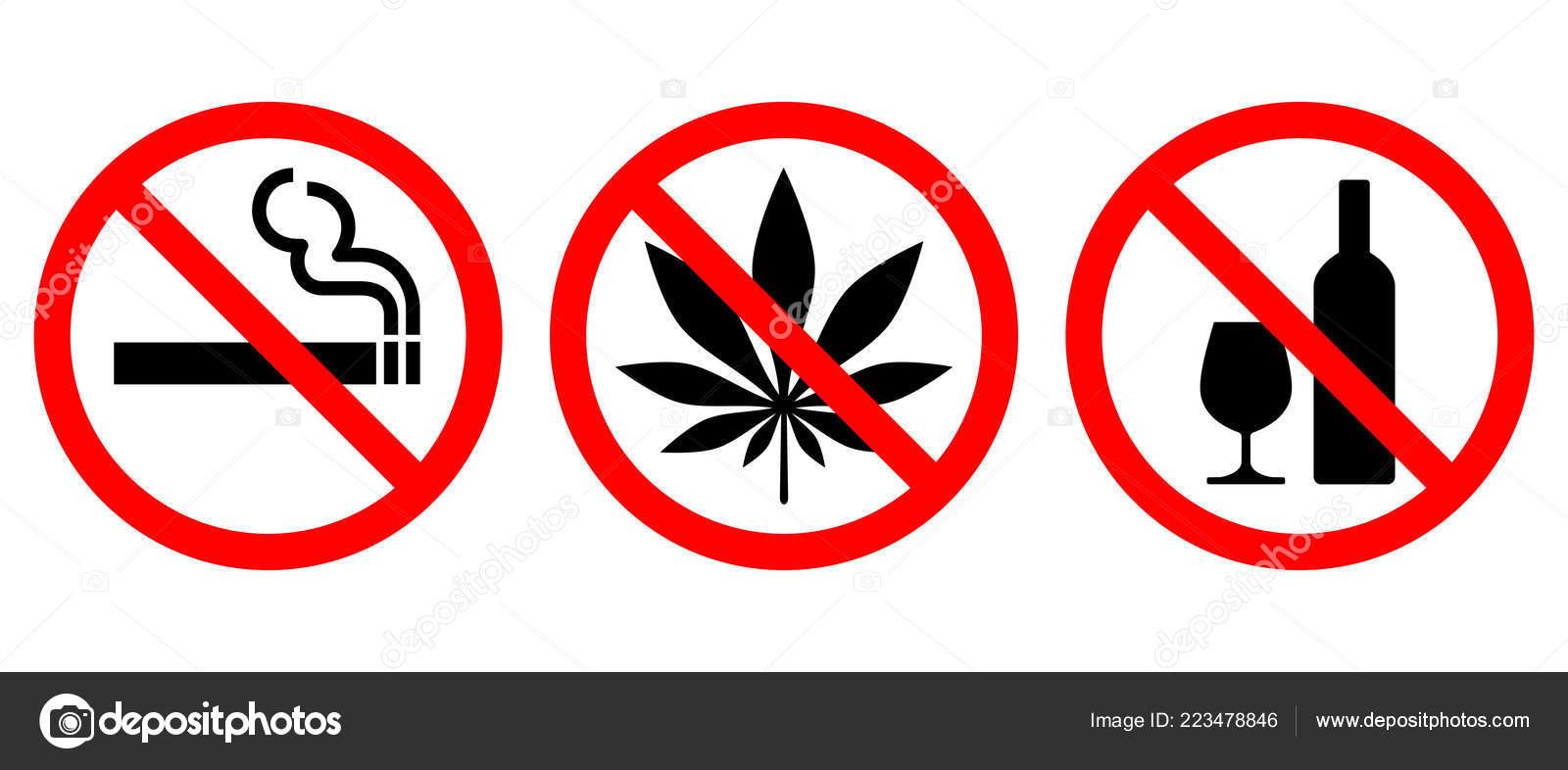 Sada Zakazující Značky Izolovaných Bílém Pozadí Symboly