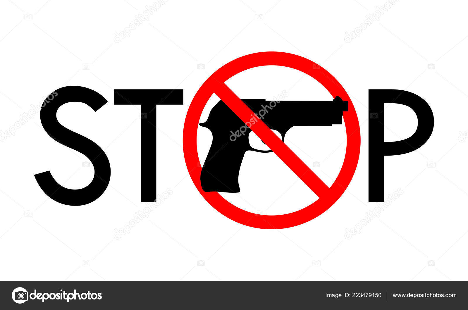 Symbol Sign Stop Guns Gun Red Prohibition Sign Red Line