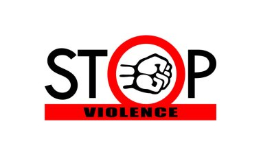 Symbol or sign stop violence. Fist in the red circle and red line with text