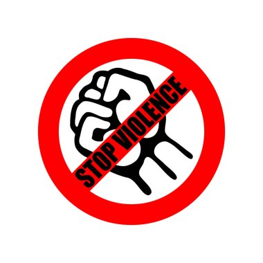 Symbol or sign stop violence. Red prohibition sign over black fist and text