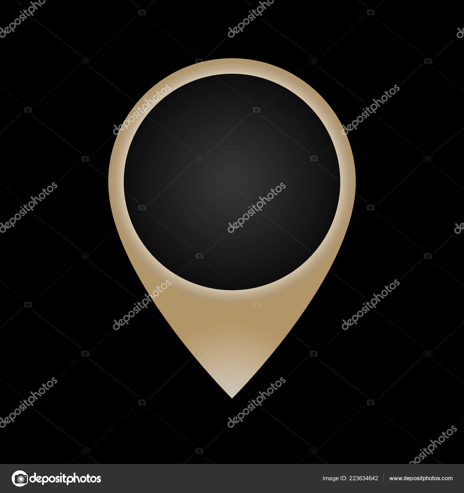 Gold Abstract Map Icon Black Background Map Point Icon