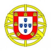Középső címer Portugália. Elszigetelt szimbólum fehér háttérrel. Jel vektor illusztráció