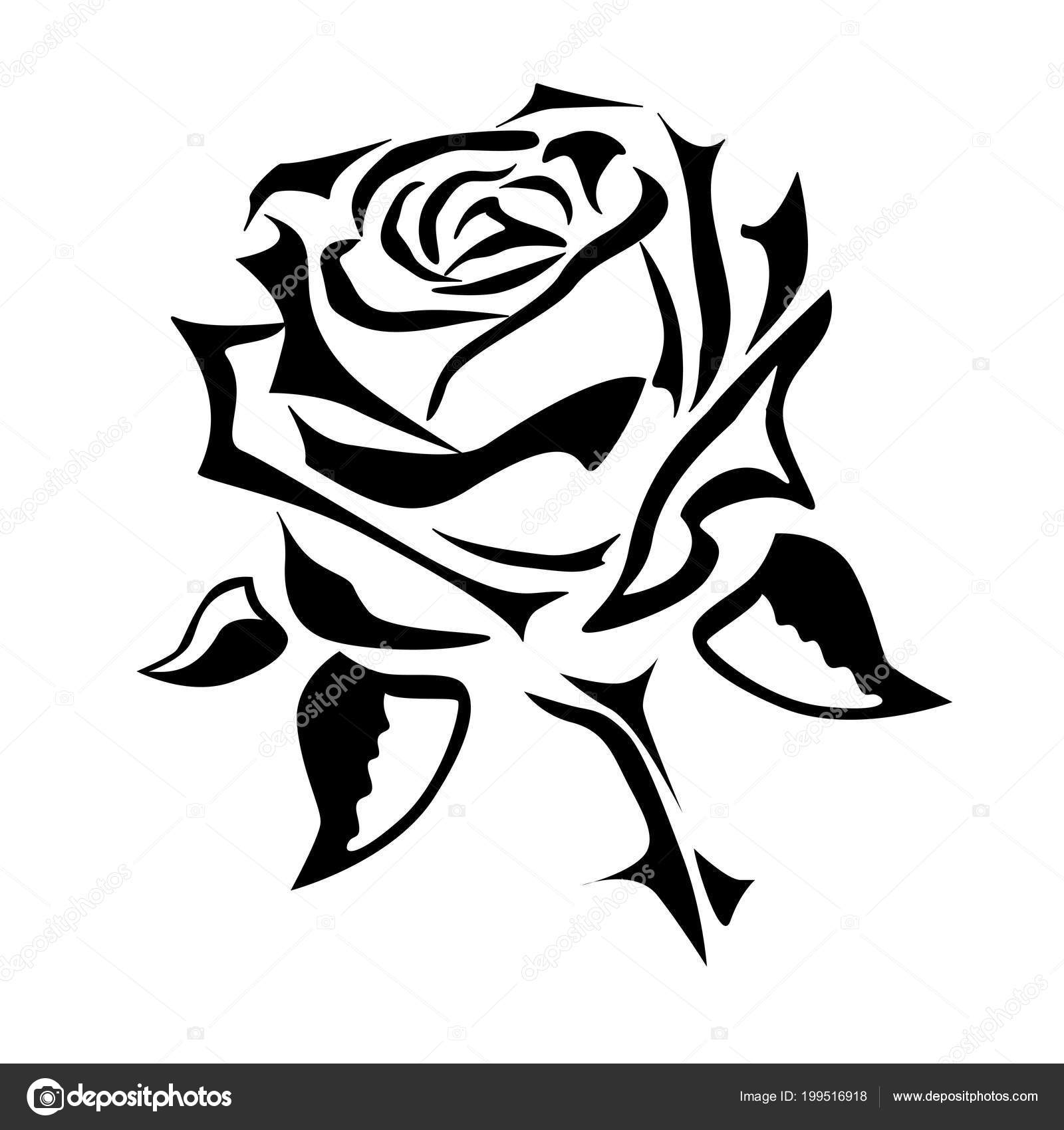 dessin tatouage rose vectoriel logo image vectorielle. Black Bedroom Furniture Sets. Home Design Ideas