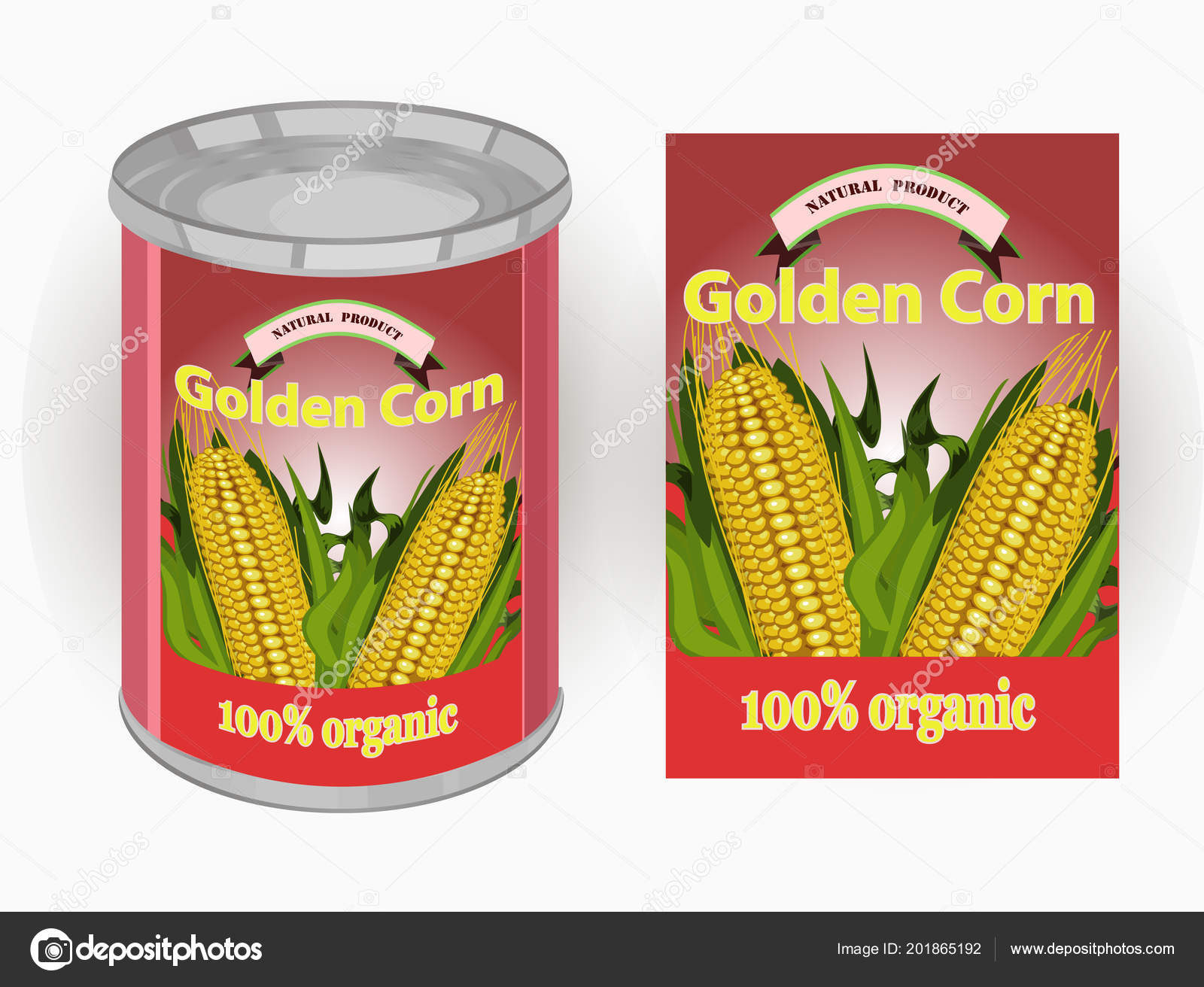vector illustration tin can label canned sweet corn image three