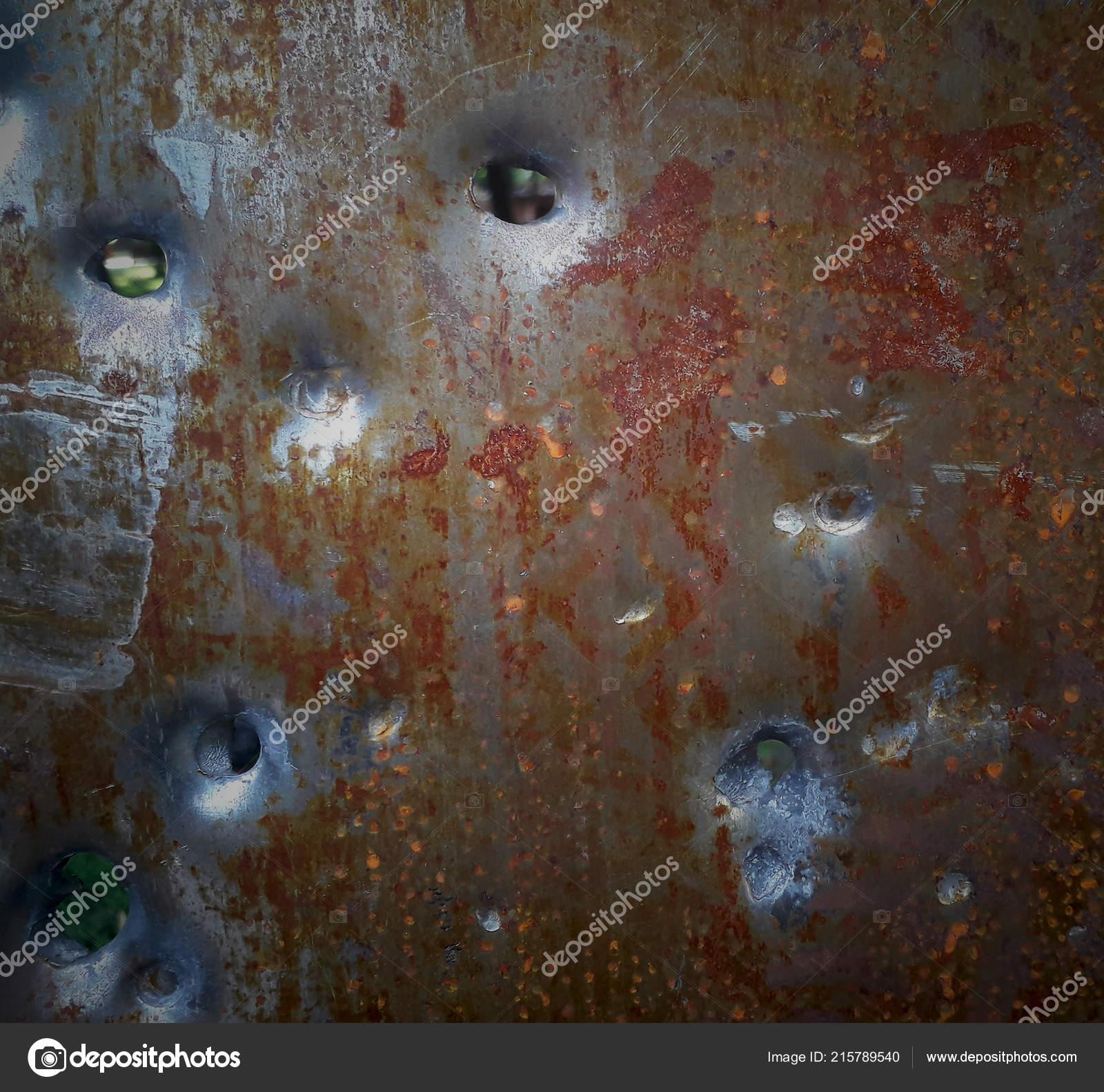 Texture Rusty Metal Bullet Holes Stock Photo C Dobrik72