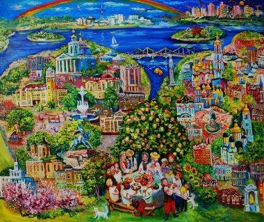 """Картина, постер, плакат, фотообои """"живопись маслом, сказочный вид на киев и хмельницкого, украинская свадьба, украина. изобразительное искусство картина натюрморт арт"""", артикул 256168730"""