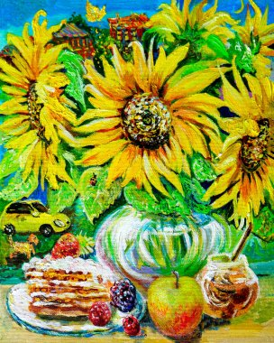 """Картина, постер, плакат, фотообои """"картины, летняя натюрморт из желтых подсолнухов, с медом, малиной, пирогом, на фоне желтой машины. живопись маслом. картина натюрморт арт"""", артикул 398742760"""