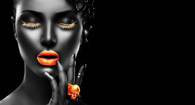 Fashion model with black skin, golden lips, eyelashes and jewell