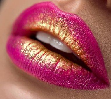 Lips makeup. Beauty high fashion gradient lips makeup sample, pu