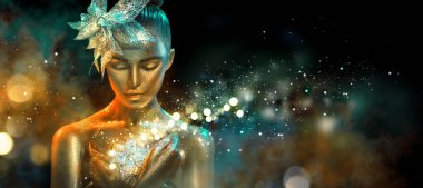 Fashion model woman in colorful bright golden sparkles and neon