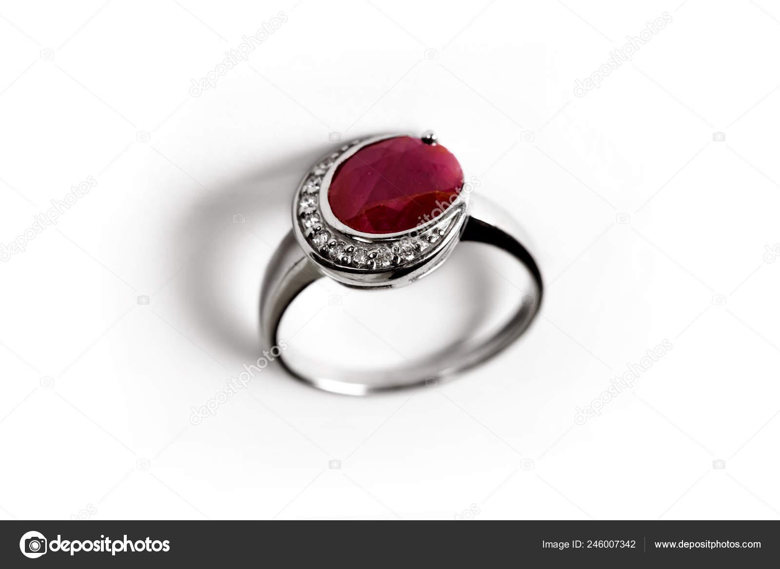 Diamond Ring Elegance Luxury Ring Ruby Isolated White Background