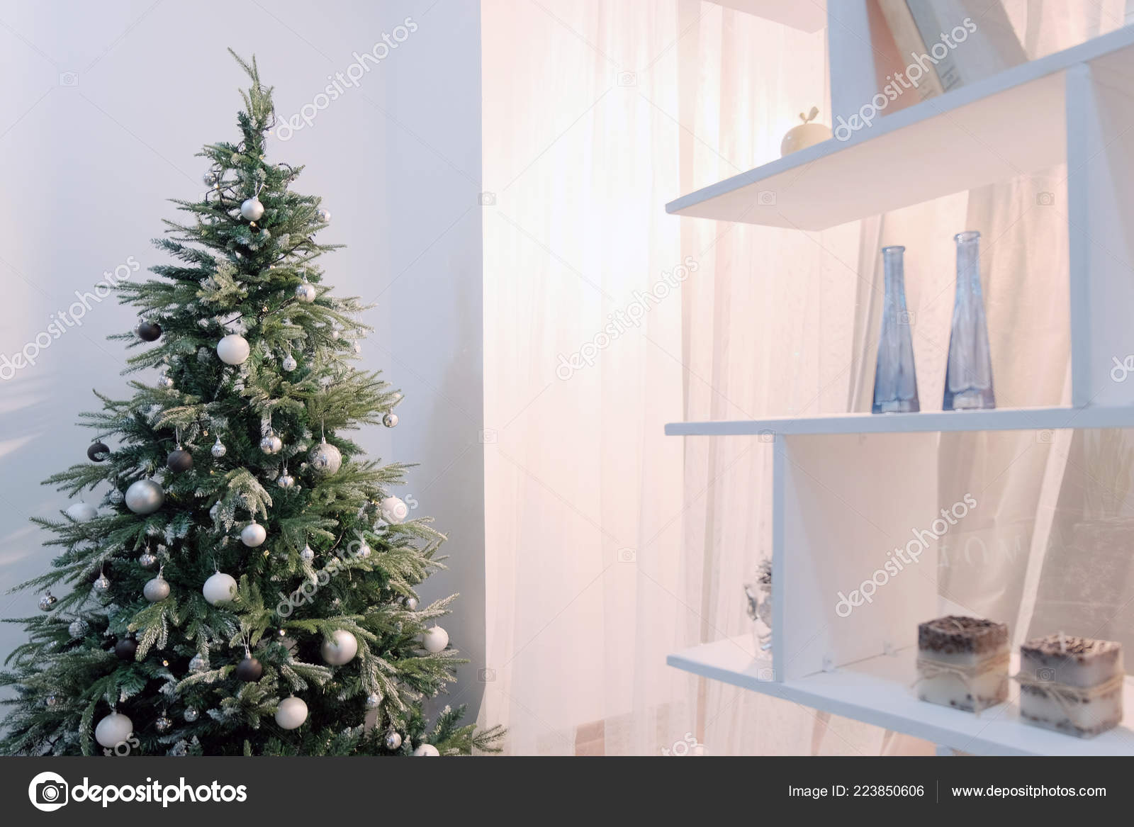 Theme Happy New Year Christmas Tree Stands Shelf Background White Stock Photo C Romsvetnik 223850606
