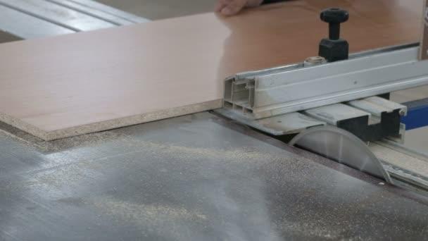 Az Ács fel a forgácslap lapot a gép a limiter, és elkezdi látta, hogy egy körfűrész. Bútorgyártás. Az átlagterv. Famegmunkálás műhely. Az eredeti hangfájl.