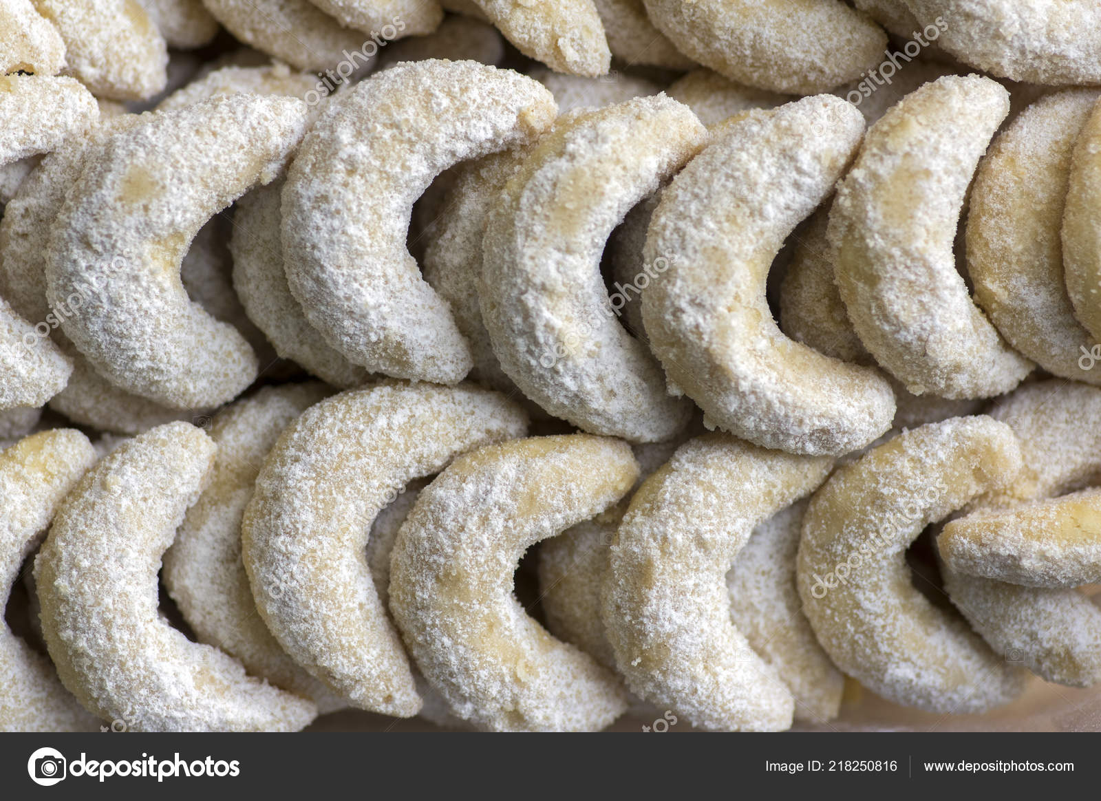 Traditional Czech Sweet Christmas Cookies Vanilla Rolls White Icing