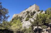 Il Castello di Monolithos, rovine del castello medievale sulla cima della roccia, Rodi, Grecia