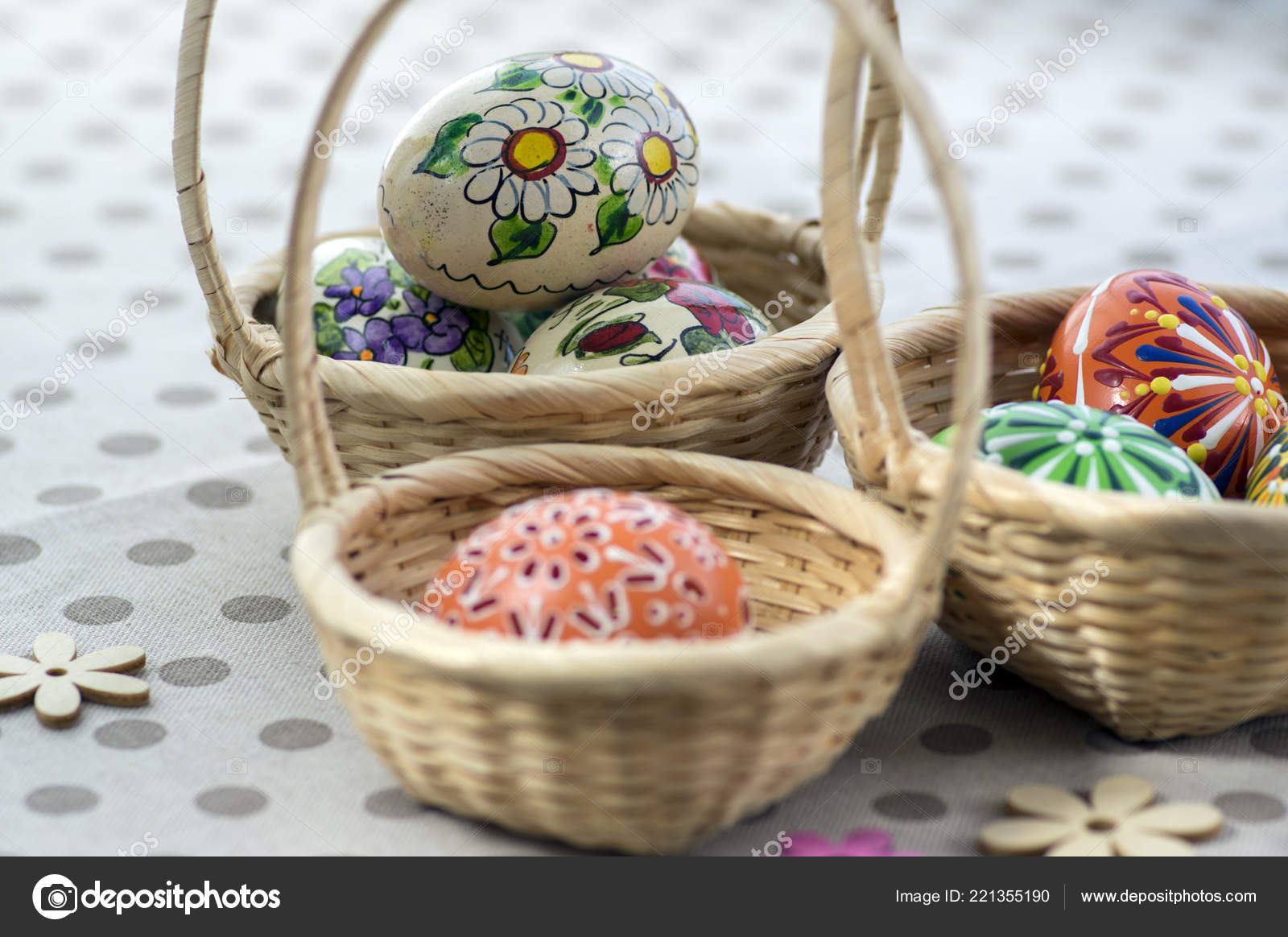 Group Wax Painted Easter Eggs Light Brown Wicker Baskets Wax ...