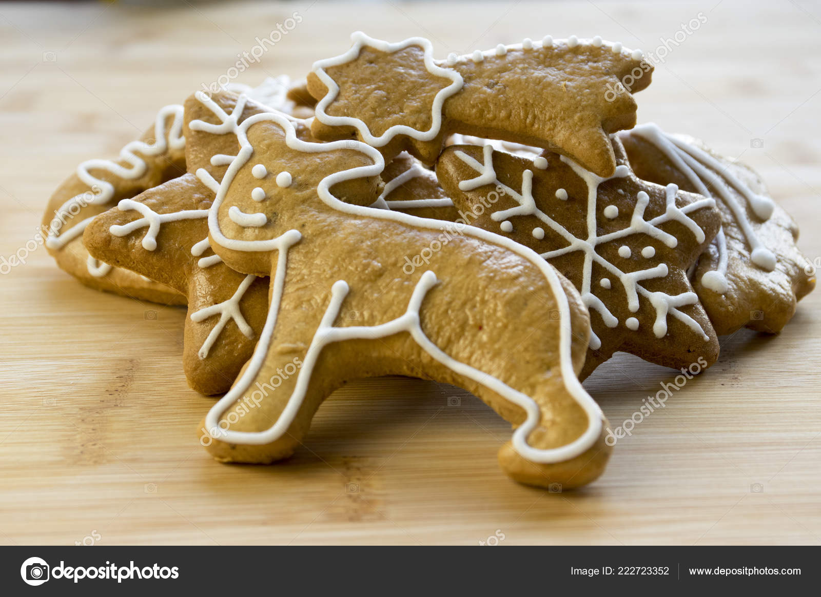 Painted Light Brown Traditional Czech Ginger Breads White Icing