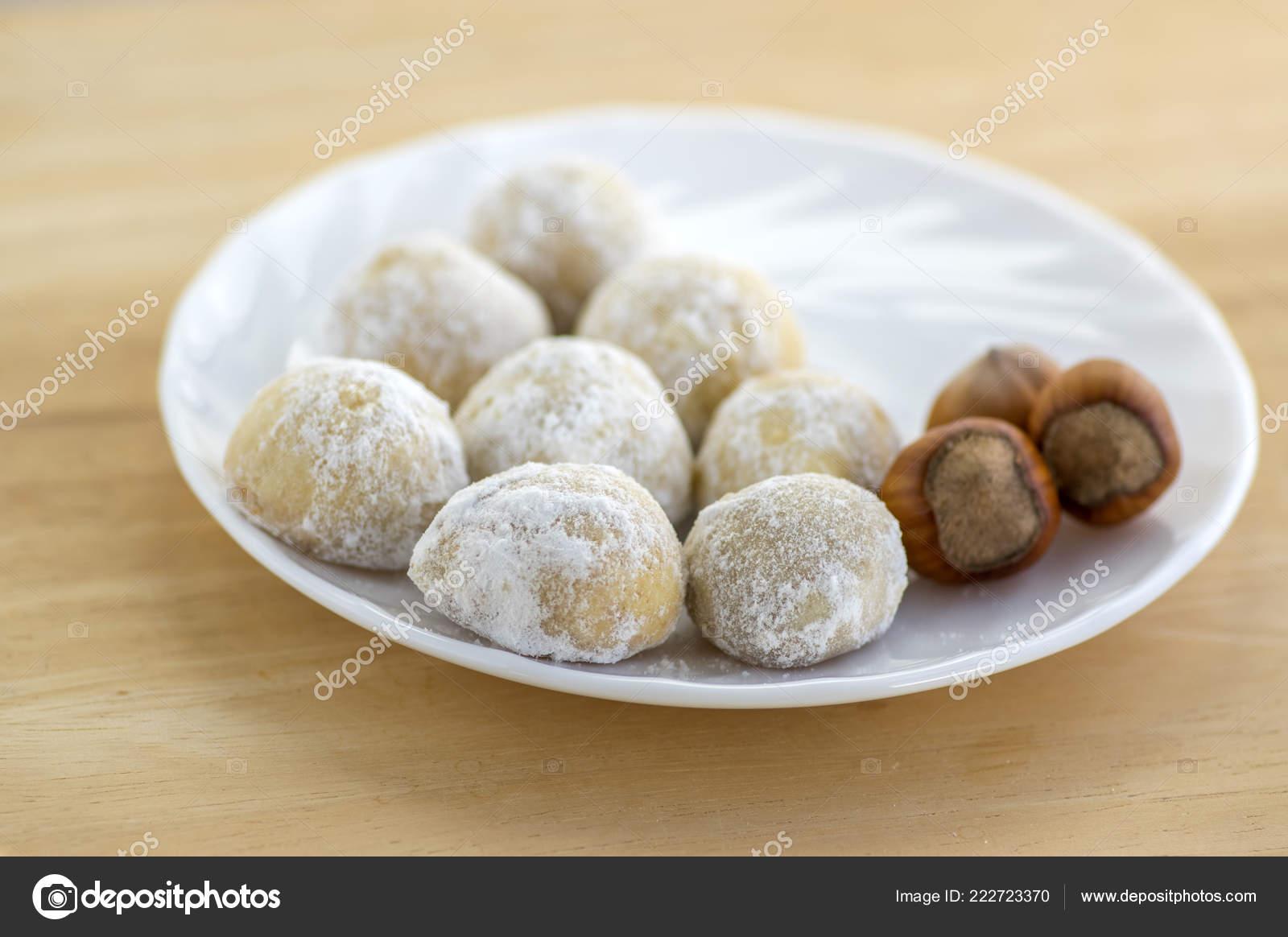 Christmas Cookies Tasty Balls Hazelnut Icing Sugar White Plate