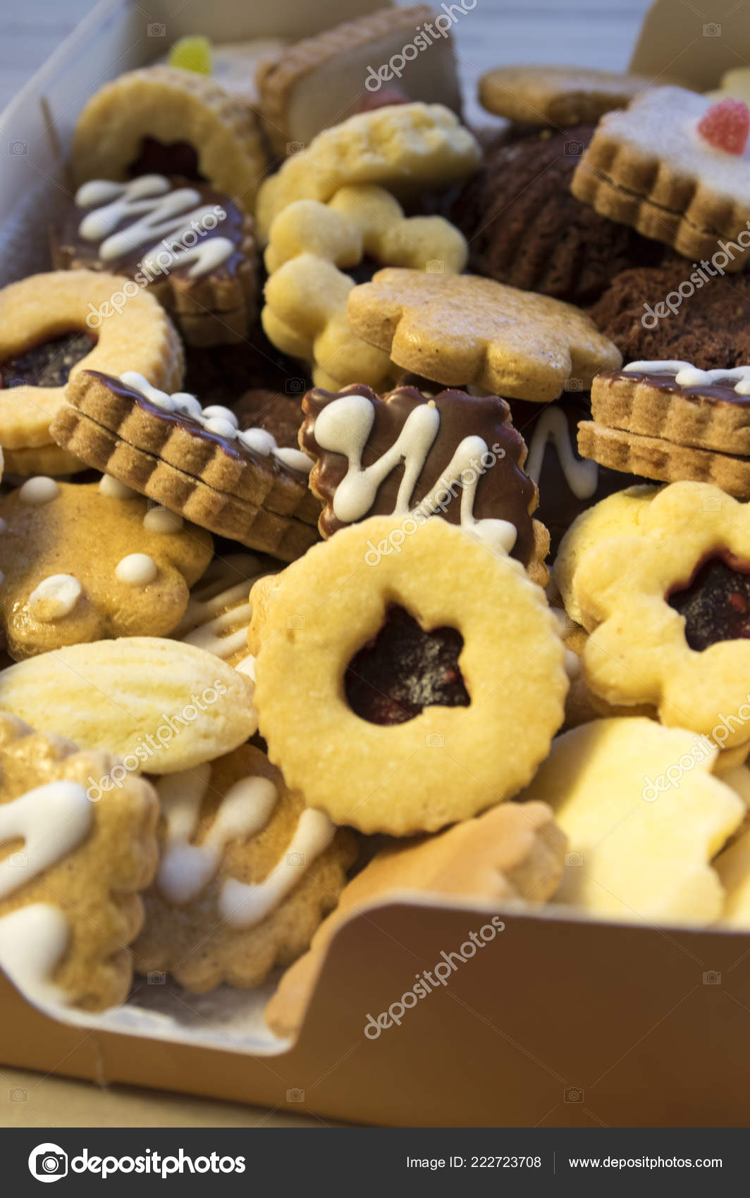 Many Kinds Christmas Cookies One Pile Brown Cardboard Box Stock