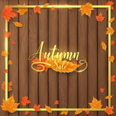 luxury autumn background decorate in golden text and border along with leaves beside border ,all golden shade contains flare look more realistic