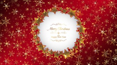 red christmas background frame rounding by star glitters,inside circle has die cut and some example luxury theme text,all of background full of snowflake and glitter are sparkling
