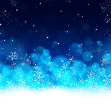blue Christmas background using gradient lay down from white to dark blue look like snows are dropping to white smooth fog and flares on top presented in clear night of winter.