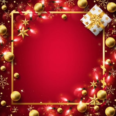 Red Christmas background decorated in gold elements and lights left some free space on the middle