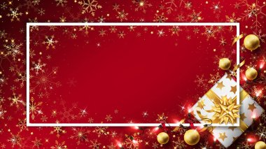 Christmas luxury background with gift box decorated in golden elements such as string lights,balls and glitters