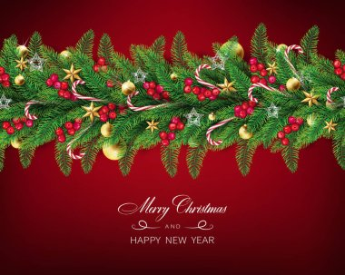 semi realistic Christmas garland with clear red background arranged in horizontal line